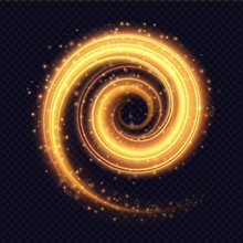 Magic Fiery Light Spiral Effect Isolated On Transparent Background. Luminescent Stardust Swirl With Bright Bokeh And Sparkles. Vector Illustration.