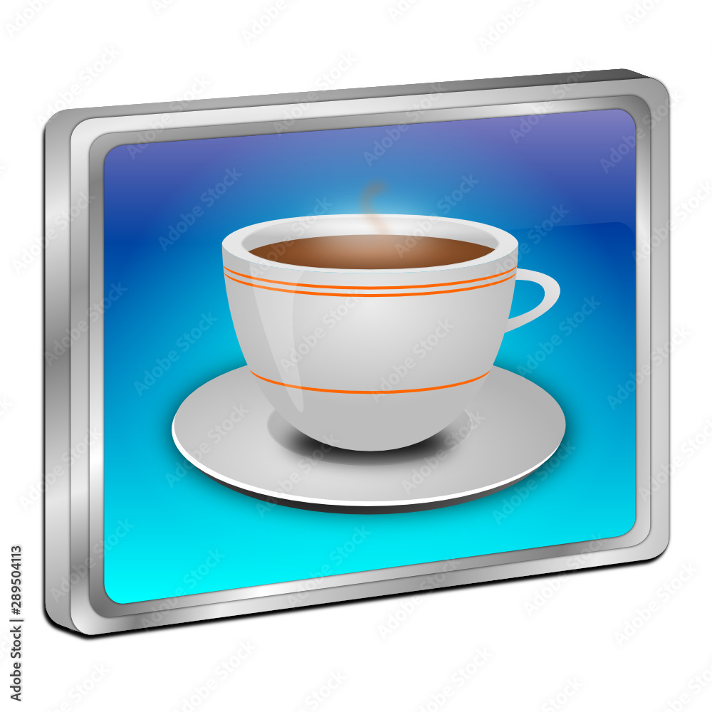 Fototapety, obrazy: Button with a Cup of Coffee - 3D illustration
