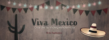 Mexican National Holiday. Mexican Flag Background With Cactus, Sombrero And National Colors.. Spanish Text: Viva Mexico. Dia De La Independencia