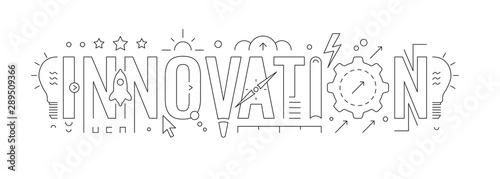 Obraz innovation word and innovation symbols. innovation concept design. vector illustration - fototapety do salonu