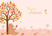 Autumn Tree With Cute Bear.Autumn Background