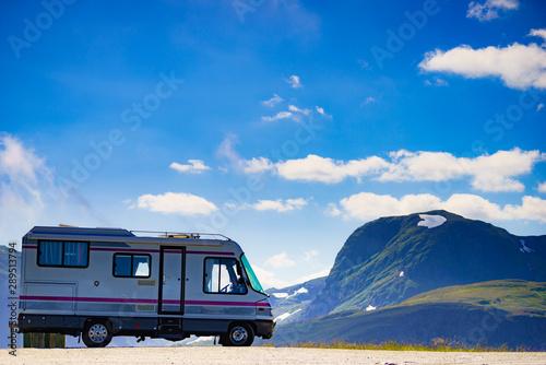 Fototapeta  Camper car on roadside in norwegian mountains