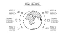 Doodle Globe Infographic With ...