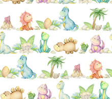 Dinosaurs, Watercolor Illustration,on A White Background. Seamless Pattern.