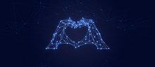 Abstract Heart Hand Shape Particle Background. Mess Network.Futuristic Plexus Array Big Data,3d Rendering.