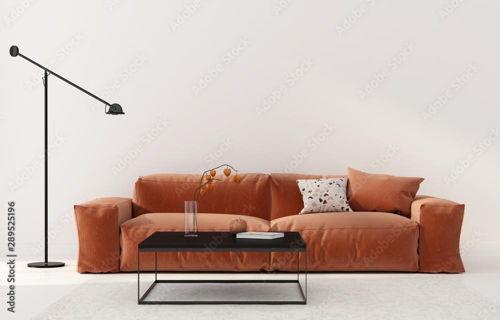 Fototapety, obrazy: Living room with terracotta sofa