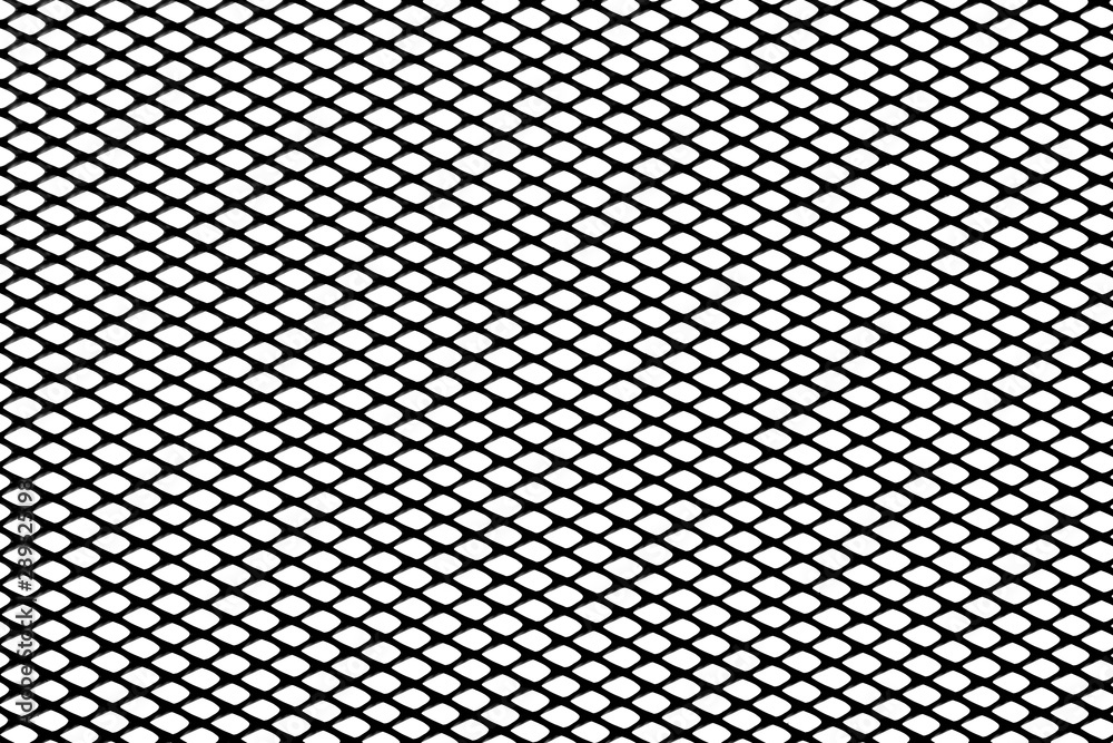 Fototapeta Black mesh texture isolated on white background, clipping path