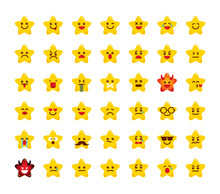Collection Of Stars Emoticons. Set Of Icon Emojis. Emotions Of Stars. Emoji Art. Flat Image Design. Feeling On The Face. Isolated Vector Illustration On White Background.