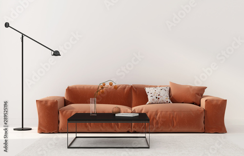 obraz dibond Living room with terracotta sofa