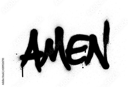graffiti amen word sprayed in black over white Canvas Print