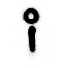 Graffiti Small Fat I Font Sprayed In Black Over White