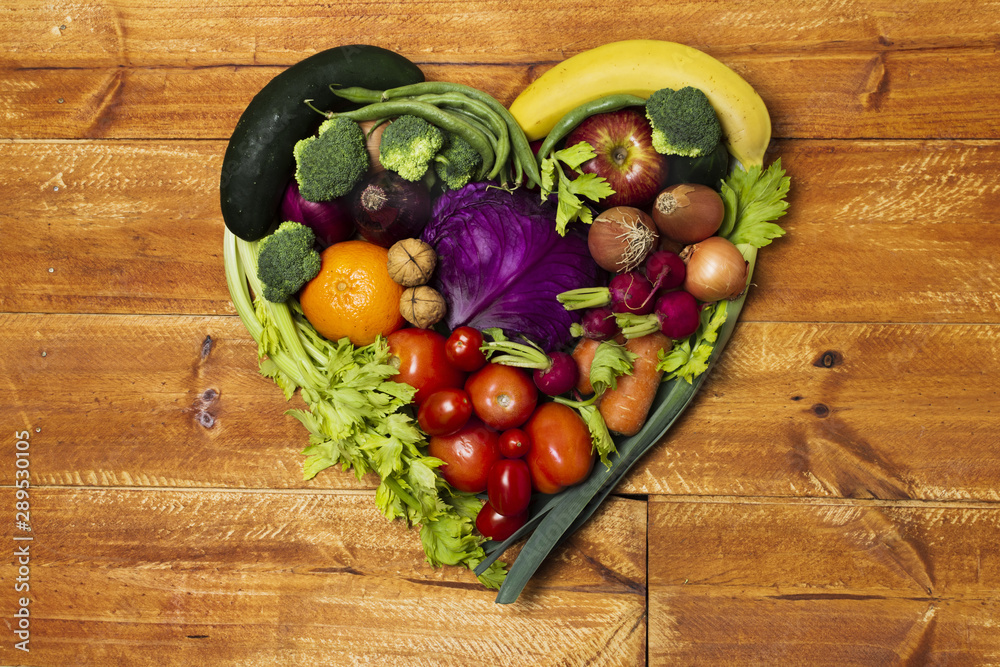 Fototapety, obrazy: Top view heart shaped vegetable arrangement