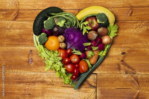 Fototapeta Top view heart shaped vegetable arrangement obraz