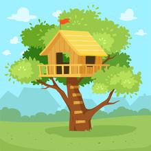 Cute Tree House Cartoon On Jun...