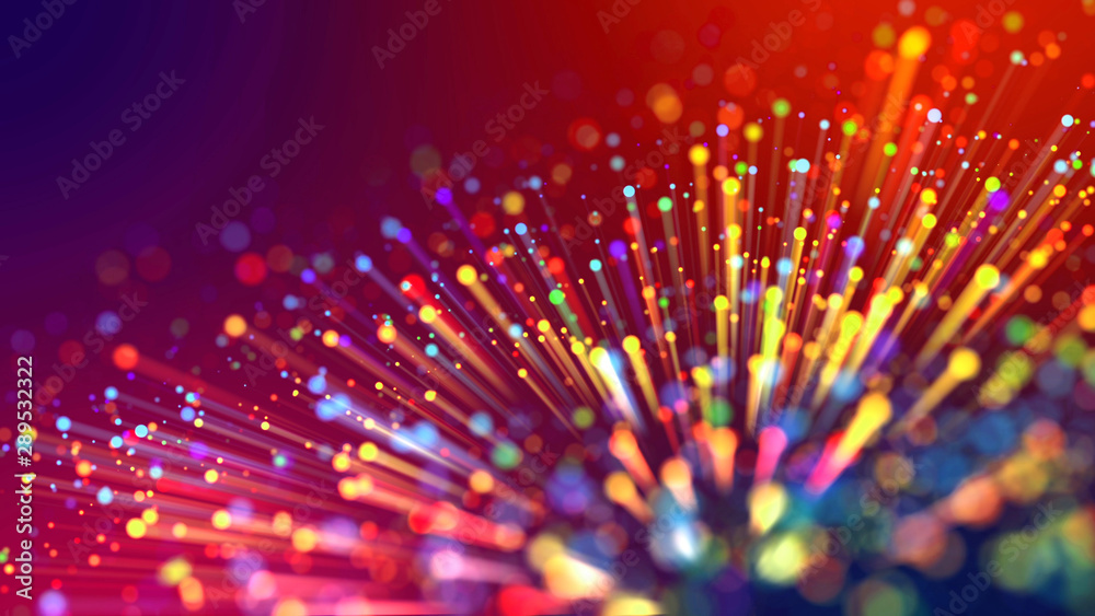 Fototapety, obrazy: Abstract explosion of multicolored shiny particles or light rays like laser show. 3d render abstract background with colorful glowing particles, depth of field and bokeh effect.