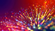 Leinwandbild Motiv Abstract explosion of multicolored shiny particles or light rays like laser show. 3d render abstract background with colorful glowing particles, depth of field and bokeh effect.