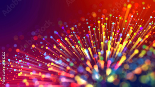 Obraz Abstract explosion of multicolored shiny particles or light rays like laser show. 3d render abstract background with colorful glowing particles, depth of field and bokeh effect. - fototapety do salonu