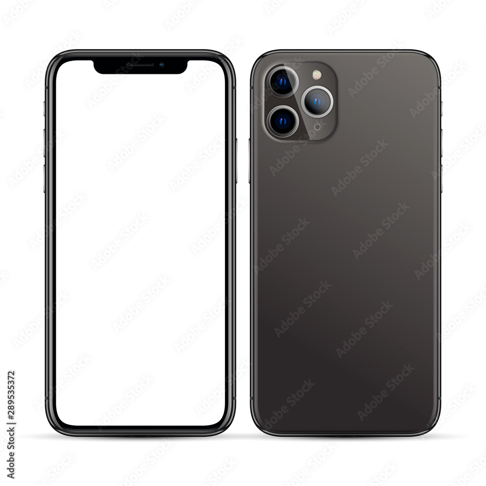 Fototapety, obrazy: black smartphone with a blank screen and three cameras on a white background