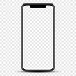 black mockup smartphone with blank screen on blank background