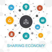 Sharing Economy Trendy Web Concept With Icons. Contains Such Icons As Coworking, Car Sharing, Crowdfunding