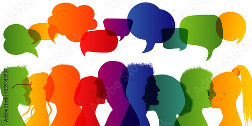 Fototapety, obrazy: Dialogue group of diverse people. Communication between people. Crowd talking. Silhouette profiles. Rainbow colours. Speech bubble