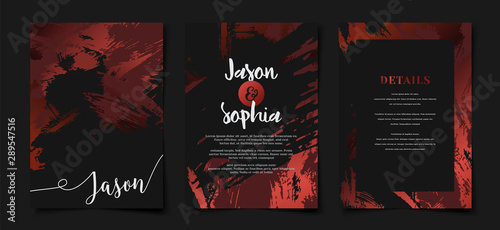 Set Of Elegant Beautiful Abstract Red And Black Wedding Invitation Cover Template Layout Buy This Stock Vector And Explore Similar Vectors At Adobe Stock Adobe Stock