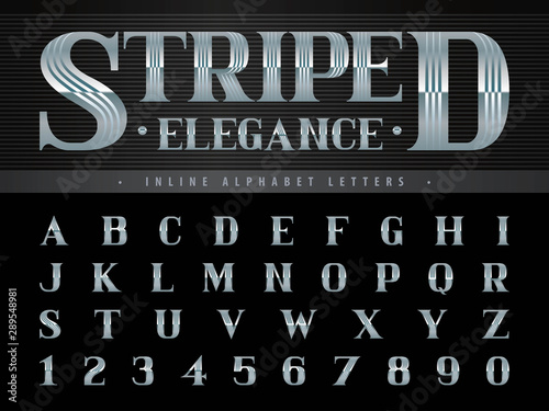 Vászonkép Elegant Alphabet Letters & numbers,Triple Line Stripes fonts