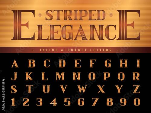 Fotografie, Obraz  Elegant Alphabet Letters & numbers,Triple Line Stripes fonts