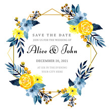 Golden Frame Wedding Invitation With Floral Watercolor