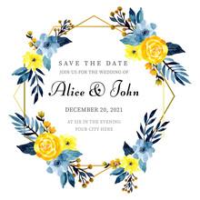 Golden Frame Wedding Invitatio...