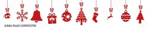 Obraz cb47 ChristmasBanner - german - Hängende rote nahtlose Weihnachtsdekoration - english - red seamless christmas decoration border (christmas sock) - banner 5to1 - xxl g8522 - fototapety do salonu