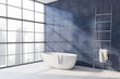 canvas print picture Blue bathroom corner with tub and ladder