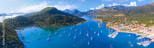 Aerial drone bird's eye view photo of iconic port of Nidri or Nydri, Leflkada island, Ionian, Greece