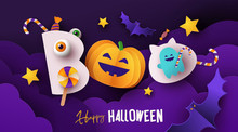 Halloween Poster, Card Or Party Invitation Banner With Text Boo! Happy Halloween And With Cute Pumpkin, Candies, Bats And Ghost In Night Clouds. Website Spooky Background Or Banner Halloween Template