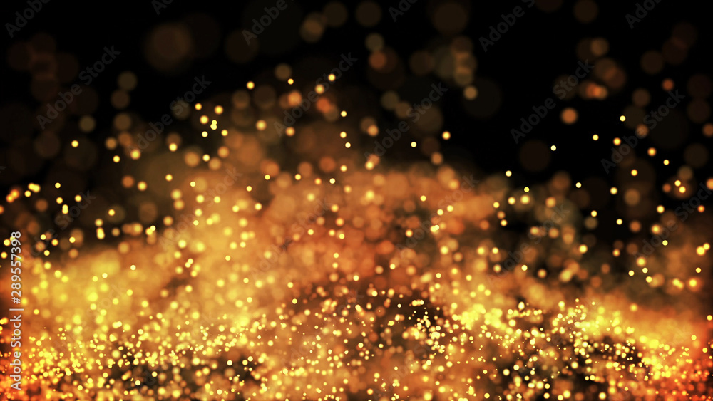 Obraz composition of gold particles with a depth of field 3d render fototapeta, plakat