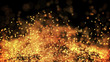 composition of gold particles with a depth of field 3d render