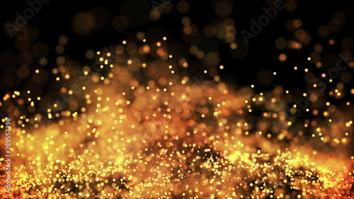 Fotografiet  composition of gold particles with a depth of field 3d render