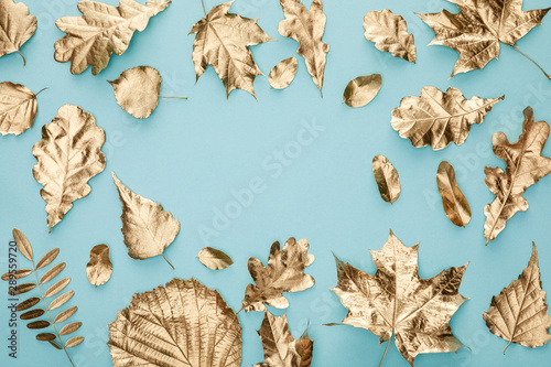 top view of painted autumnal golden leaves on blue background