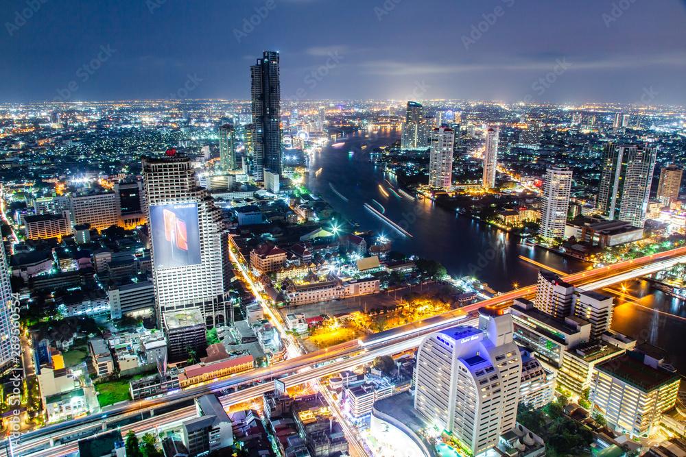 Fototapety, obrazy: aerial night view of Bangkok City skyscrapers Thailand