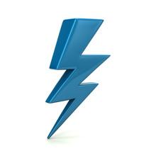 Blue Thunder Lighting Icon 3d Illustration Isolated On White Background
