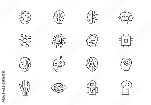 Obraz Artificial Intelligence thin line vector icons. Editable stroke - fototapety do salonu