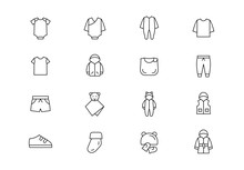 Baby Clothing Thin Line Vector Icons. Editable Stroke