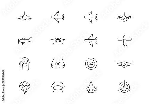 Aviation thin line vector icons. Editable stroke