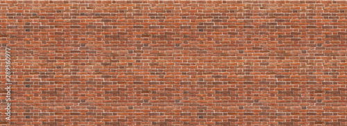 Poster Brick wall Panoramic background of wide old red and brown brick wall texture. Home or office design backdrop. Vintage brickwall