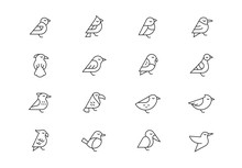 Birds Thin Line Vector Icons. ...