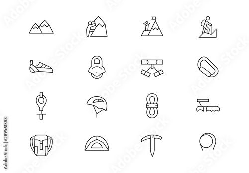 Photo Rock climbing equipment thin line vector icons. Editable stroke