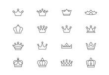 Crown Thin Line Vector Icons. Editable Stroke