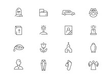 Funeral Thin Line Vector Icons...