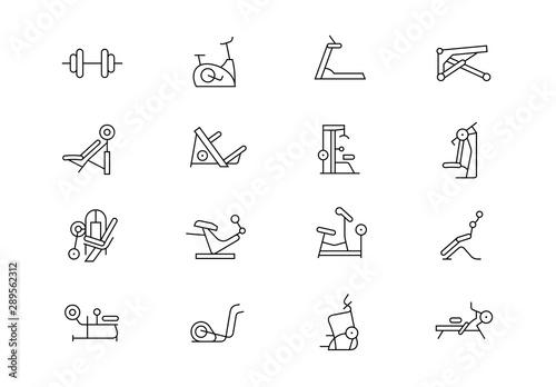 Fotomural Gym equipment thin line vector icons. Editable stroke