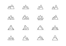 Mountains Thin Line Vector Ico...